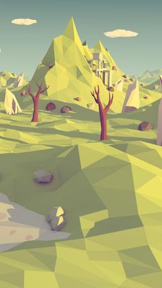 Polygon Mountain Landscape Illustration ★ Find more geometric Android + iPhone wallpapers @prettywallpaper