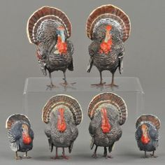 Lot Of Six Turkey Figures & Candy Containers