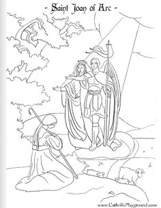 Saint Joan of Arc Catholic coloring page: Feast day is May 30th