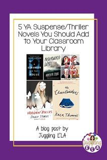 5 YA Suspense/Thriller Novels You Should Add To Your Classroom Library School Resources, Teacher Resources, Secondary Resources, Teacher Tools, Teacher Stuff, Fun Classroom Activities, Writing Activities, High School Literature, Thriller Novels