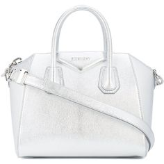 Givenchy Metallic Antigona Tote Bag ($2,450) ❤ liked on Polyvore featuring bags, handbags, tote bags, metallic, metallic tote, long tote bag, white tote bag, white tote handbags and tote handbags