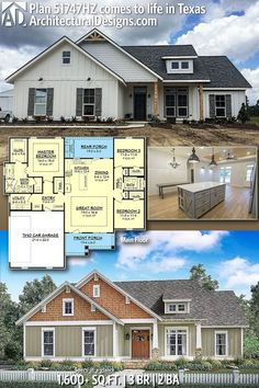 Architectural Designs Craftsman House Plan - House Plans, Home Plan Designs, Floor Plans and Blueprints Craftsman Cottage, Craftsman House Plans, New House Plans, Dream House Plans, Small House Plans, Craftsman Kitchen, Square House Plans, Cottage House, Tiny House