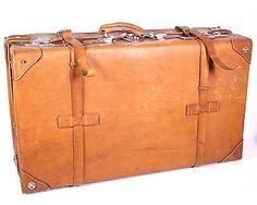 KO40 Vintage Lederkoffer Oldtimer Koffer Leder braun Shabby 67 x 19 x 39