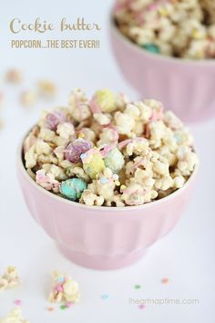 Cookie butter popcorn...this stuff is super easy to make and dangerously delicious! It will be gone in minutes! Perfect Easter treat!