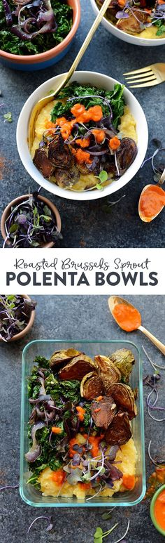 Vegetarian Meal Prep Idea: Meal prep like a vegetarian boss and make these Roasted Brussels Sprout Polenta Bowls fully equipped with caramelized onions and kale! Vegetarian Meal Prep, Lunch Meal Prep, Vegetarian Recipes Easy, Healthy Meal Prep, Healthy Eating, Healthy Recipes, Healthy Dinners, Fall Recipes, Clean Dinner Recipes