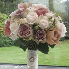 Vintage rose bridal bouquet by @Sonning Flowers  Fab colours.