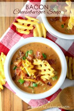 Slow Cooker Bacon Cheeseburger Soup Recipe | All the flavors of your favorite burger in a hearty soup, made in the Crock Pot.