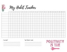 Free Fitness Habit Tracker - Monthly Tracking Of New Healthy Habits www.MalenaHaas.com