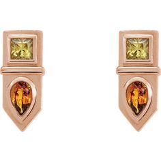 Rose Gold Yellow Multi-Gemstone Geometric Bar Drop Earrings | Click through for product details OR to locate a jeweler near you! Unique Earrings, Gemstone Earrings, Drop Earrings, Greek Design, Mystic Topaz, Or Rose, Rose Gold, Pink Sapphire, Geometric Shapes