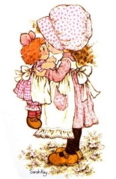 Sarah Kay My two girls had rag dolls with their cute bonnets - one in yellow and one in pink on their beds every day