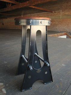 Vintage Industrial A Frame Bar Stool / Drafting Chair. $425.00, via Etsy.