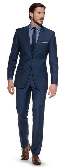 Shackelton Slim-Fit 2-Button Mohair Metallic Blue Suit