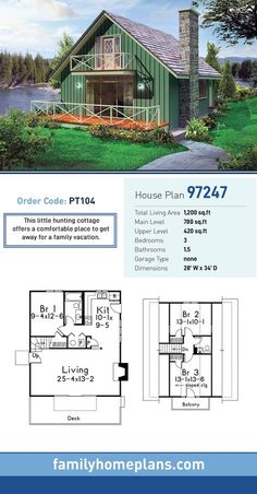Ideas Farmhouse House Plans Small Cabin For 2019 Cabin House Plans, House Plans 3 Bedroom, House Plans One Story, Family House Plans, Dream House Plans, House Floor Plans, Dream Houses, Tiny House 3 Bedroom, Loft Floor Plans