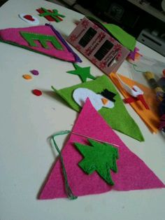 Christmas bunting in the making!