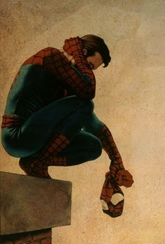 Spider-Man, Peter Parker, having a rough day.