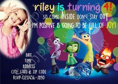 Disney Inside Out Birthday Party Invitation, FREE Thank you card, Disney Inside out movie invitation, Inside Out Invitation, Disney Inside Out, Inside Out Party Invitation, Inside Out Disney party Ideas