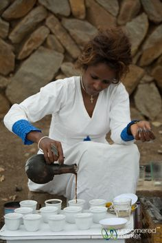 The ultimate guide to all you need to know about Ethiopian food. Extensive list of Ethiopian traditional foods, vegetarian dishes, mixed platters and drinks. Ethiopian Coffee Ceremony, Kenyan Coffee, Pouring Coffee, Ethiopian Cuisine, Cocoa, Arabic Coffee, Coffee Culture, Food Dishes, Food And Drink