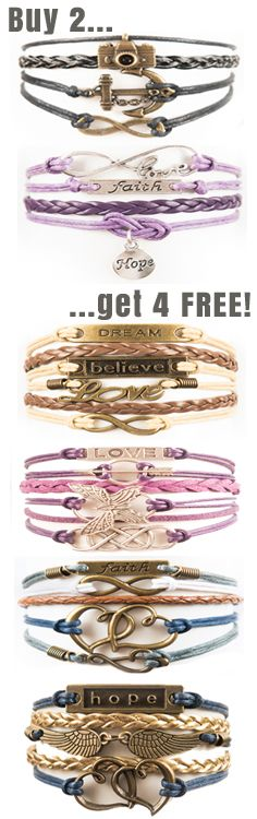 Buy 2, Get 4 FREE!  Coupon: 6for2 See all our bracelets here --> http://www.gomodestly.com/6for2/  Coupon expires 12/31/16.