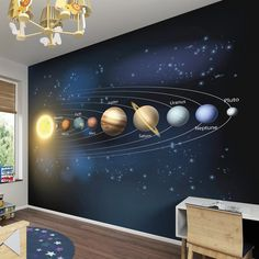 Give your little one's bedroom a facelift with this charming wall mural. Boys Space Bedroom, Outer Space Bedroom, Boys Bedroom Decor, Bedroom Themes, Bedroom Ideas, Chambre Nolan, Galaxy Bedroom, Room Wallpaper, Baby Boy Rooms