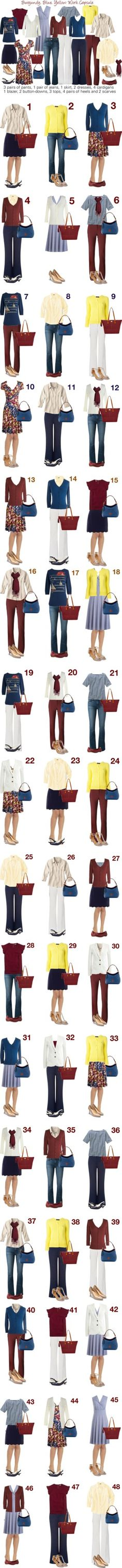 Burgundy, Blue & Yellow: Capsule Wardrobe by kristin727 on Polyvore featuring House of Holland, Lanvin, Dooney & Bourke, J.Crew, Karina, MINKPINK, Emily and Fin, Monsoon, Anne Klein and J Brand