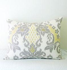 Yellow & Grey Ikat Decorative Designer Pillow by WhitlockandCo, $40.00