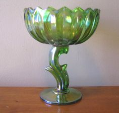 Vintage Indiana Carnival Glass Green Lotus Blossom Compote from WhimsicalVintage on Ruby Lane