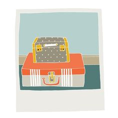 Polaroid - Suitcases - doodle by Amy Blackwell