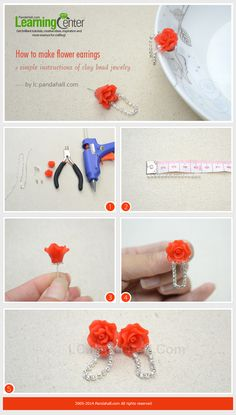 How to Make Flower Rhinestone Wedding Earrings with Clay Beads