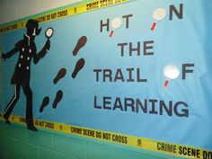 Detective Bulletin Board: Hot on the Trail of Learning Classroom Decor Themes, Classroom Design, Classroom Ideas, Library Decorations, Church Bulletin Boards, History Bulletin Boards, School Themes, School Ideas, Detective Theme