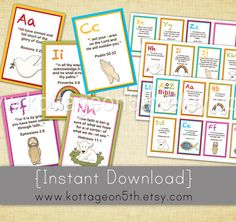 Instant Download - Adorable A to Z Bible Verse Flashcards for Kids - ABC Alphabet Verses Printable Digital File! Teach your kids a Bible verse for each letter in the alphabet! Charming colors and graphics will capture your child's attention and engage them in this valuable learning process. Perfect for home, homeschool, preschool, Vacation Bible School, Sunday School, gift giving, and more!  Please support small business and purchase this design from www.kottageon5th.etsy.com.