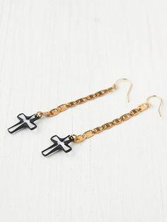 Vanessa Mooney Cross Drop Earrings http://www.freepeople.com/whats-new/cross-drop-earrings/