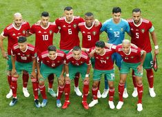 The Morocco team pose for a photo prior to the 2018 FIFA World Cup Russia group B match between Morocco and Iran at Saint Petersburg Stadium on June 2018 in Saint Petersburg, Russia. Neymar, Messi, World Cup 2018, Fifa World Cup, Morocco, Christmas Sweaters, Madrid, Poses, Soccer Teams