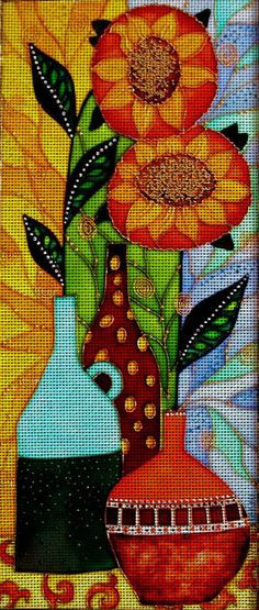 """Needlepoint canvas """"Still life with Sunflowers"""" (AIV032)"""