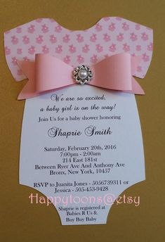These adorable, Baby shower invitations are cut and crafted completely by hand, . Distintivos Baby Shower, Shower Bebe, Baby Shower Princess, Baby Shower Invites For Girl, Baby Shower Cards, Baby Shower Favors, Baby Boy Shower, Baby Shower Gifts, Baby Favors