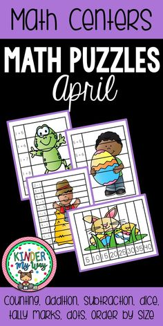 This April Math Puzzles Packet contains 30 math puzzles for a fun, engaging center activity. These puzzles are great for early finishers, independent center activity, small group center or morning activity. All puzzles based on April themes: Spring, Easter, Farm, Bugs