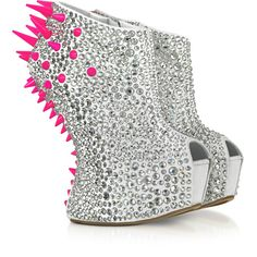 Giuseppe Zanotti Neon Resin Spike and Crystal Suede Wedge ($3,150) ❤ liked on Polyvore featuring shoes, boots, ankle booties, white wedge booties, white boots, peep-toe ankle booties, peep-toe booties and wedge boots