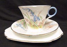 Shelley Art Deco Tea Cup & Saucer & Side Plate Trio No. 781613 Blue Flowers Y229