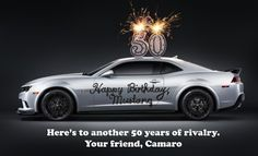 Rivals!? Chevy Camaro Wishes Ford Mustang A Happy 50th Birthday. Click to find out more... #Musclecarwars