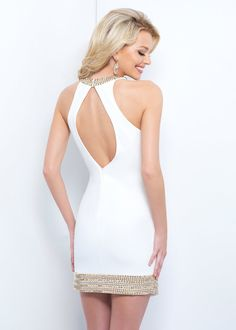 Sexy Fitted Beaded Halter Neck Asymmetrical Overlay White Homecoming Dress