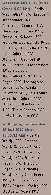 WETTER-BERICHT: 12.05.12 (Stand 6:00 Uhr) - http://www.schoeneswetter.com/wetterwuensche/wetter-2012/mai-2012/wetter-12-mai-2012.php