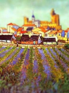 View of Saintes Maries, Van Gogh, 1888  Serena Malyon, a 3rd year art student, collected some of Van Gogh's most beautiful paintings and altered them in Photoshop to achieve this amazing tilt-shift effect.