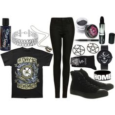 Quick A Day To Remember set Cute Emo Outfits, Scene Outfits, Punk Outfits, Gothic Outfits, Punk Rock Fashion, Women's Fashion, Fashion Outfits, Daytime Outfit, Gothic Clothing