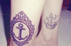 anchor and boat tattoo on the leg