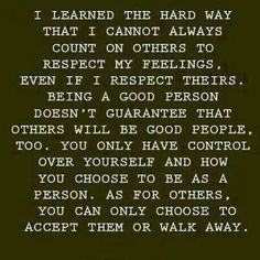 Cannot control others' actions, only your own