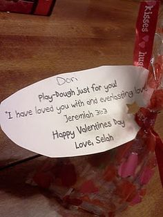 Pinned this because my name is on the tag!   Valentines gift bags with Bible Vs. Jer. 31:3- Cute