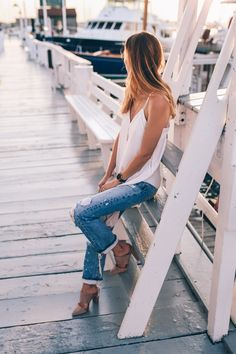 AYR high waist ripped jeans silk tank suede mules summer prosecco and plaid