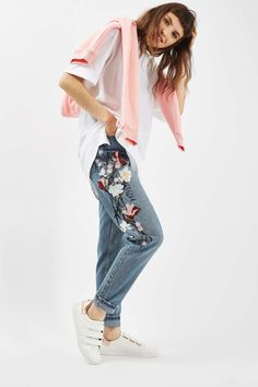 MOTO Floral Embroidered Mom Jeans - Spring/Summer 2017 Collection - Clothing - Topshop Malaysia