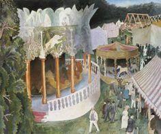 Fairground at Henley Regatta by Dora De Houghton Carrington England) Dora Carrington, Duncan Grant, Village Fete, Vanessa Bell, Bloomsbury Group, Garden Painting, Oeuvre D'art, Landscape Paintings, Landscapes