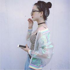 >> Click to Buy << 2017 Summer Woman Jacket Fashion Transparent Colorful Jacket Baseball Jacket European Root Yarn Splicing Rainbow Collar Wild Lo #Affiliate