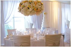 The Ballantyne Hotel Wedding, yellow and cream/white wedding, Chameleon wedding chairs, Hydrangeas at wedding reception, wedding draping, 7 tier wedding cake, www.carolinaweddingdesignblog.com